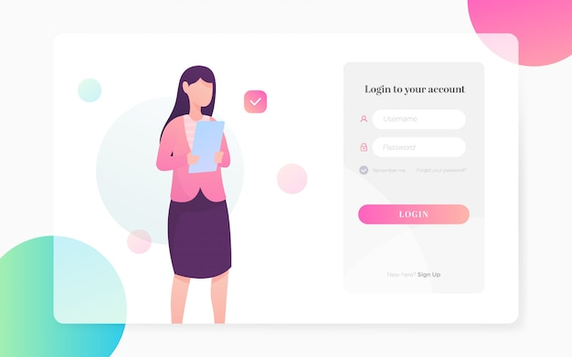 Modern flat login page illustration
