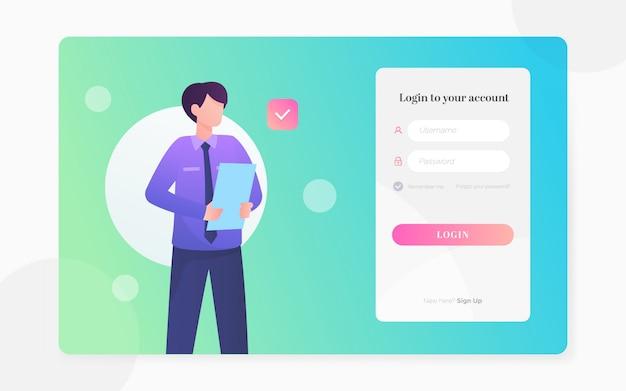 Modern flat login page illustration