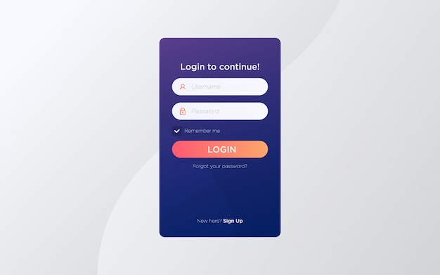 Modern flat login screen page template