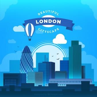 현대 평면 런던 도시 배경