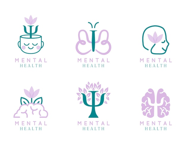 Modern flat mental health logo collection