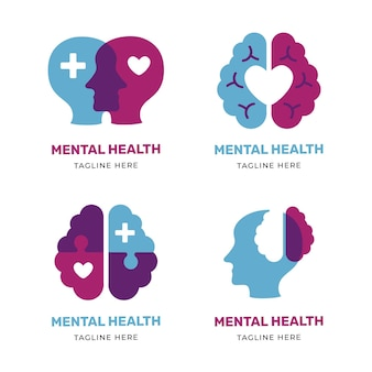 Modern flat mental health logo pack