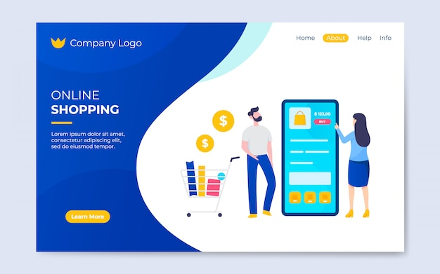 Modern flat online shopping landing page template illustration