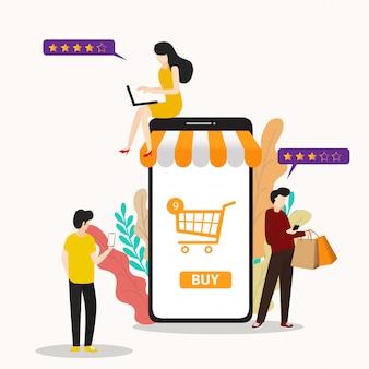 Современные плоские люди и бизнес для m-commerce, простые в использовании и настраиваемые.