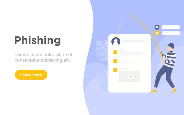 Modern flat phishing landing page illustration