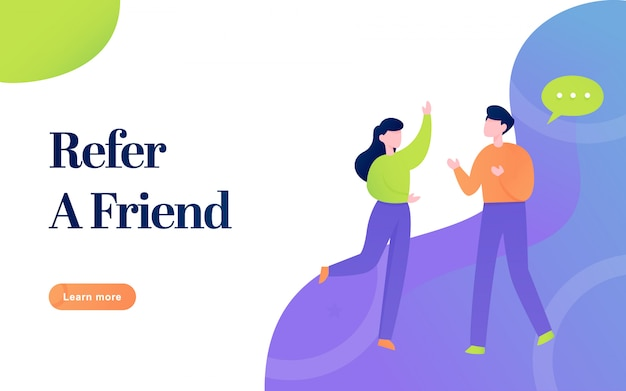 Modern flat refer a friend banner illustration