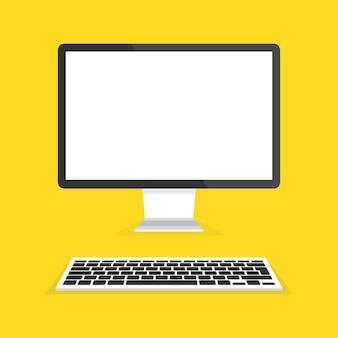 現代のフラットスクリーンコンピューターモニターとキーボード