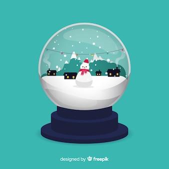 Modern flat snowball globe concept