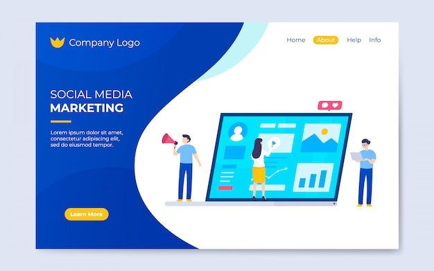 Modern flat social media marketing landing page template