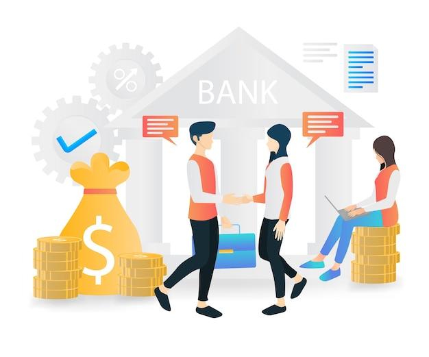 Банковское дело и финансы в современном плоском стиле