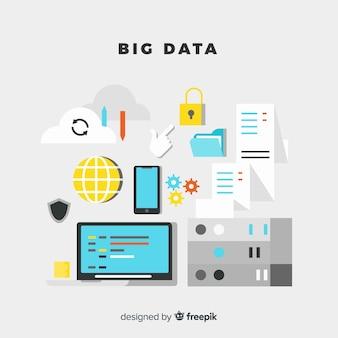 Modern flat style big data background