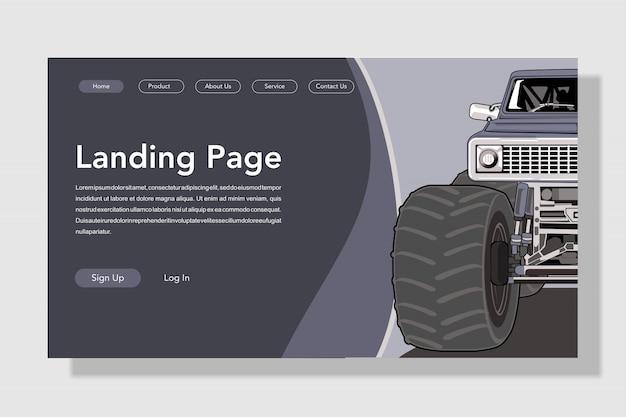 Modern flat style car landing page
