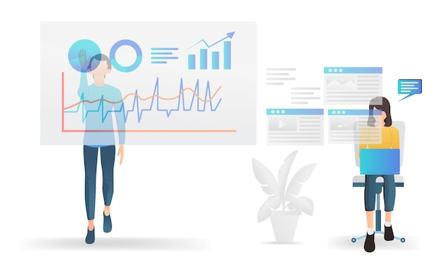 Modern flat style illustration about business data analysis with characters