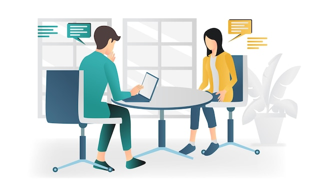 Modern flat style illustration about job interview or business discussion