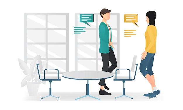 Современная плоская иллюстрация о собеседовании или деловой дискуссии