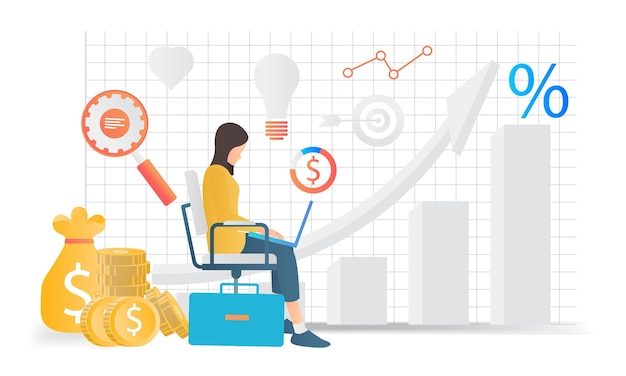 Modern flat style illustration of business analytics by a woman sitting with her laptop