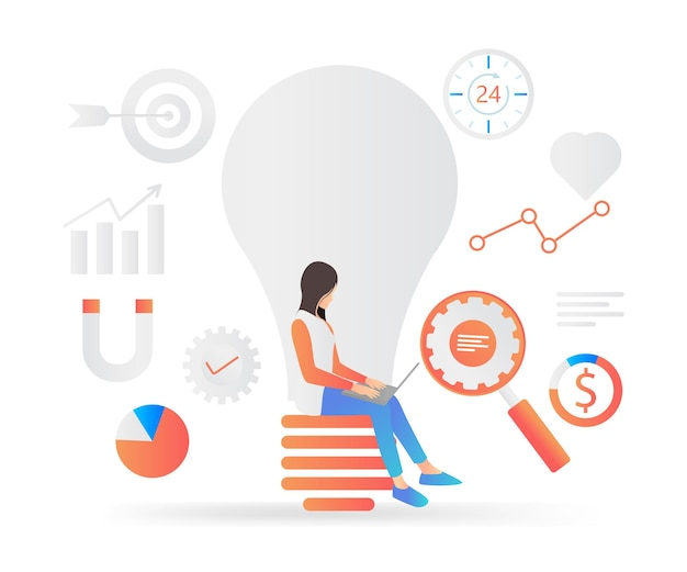 Modern flat style illustration of effective and sustainable marketing strategy