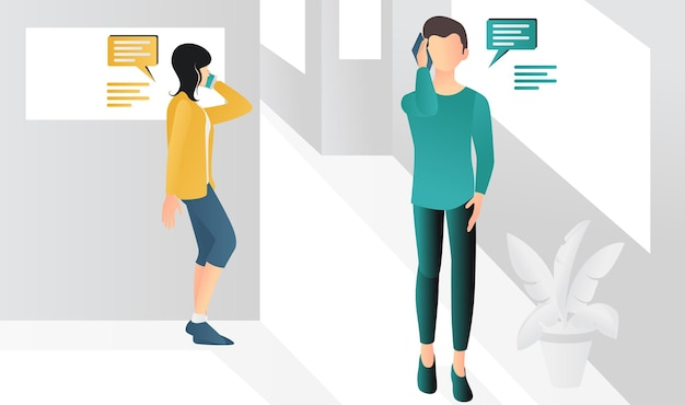 Modern flat style illustration of a man and woman communicating via smartphone