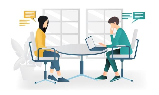 방에서 토론을 하는 남자와 여자의 현대적인 평면 스타일 그림