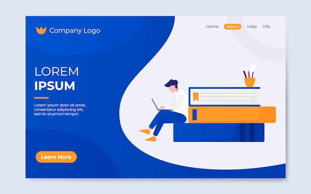 Modern flat style online library landing page illustration