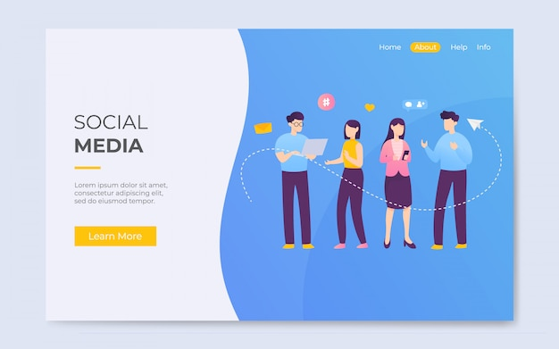 Modern flat style social media communication lading page illustration
