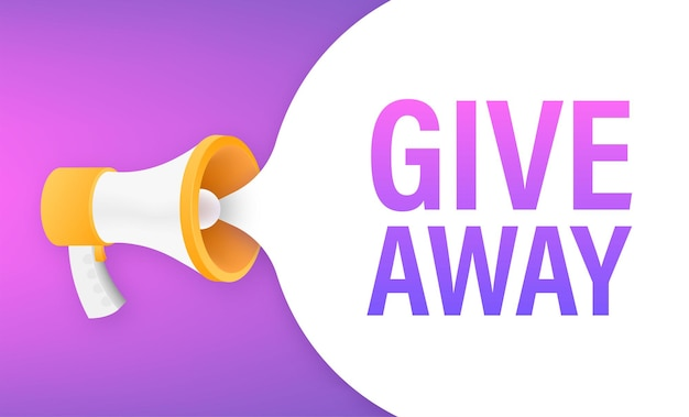 Modern flat style template with giveaway megaphone for banner design