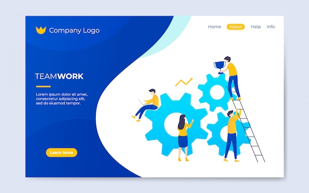 Modern flat teamwork landing page template illustration