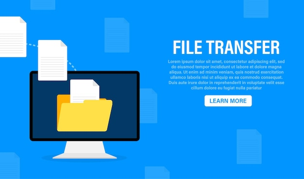 Modern flat template with file transfer on white
