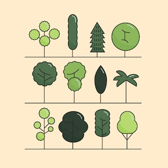 Modern flat trees set. tree icons set, tree symbols.