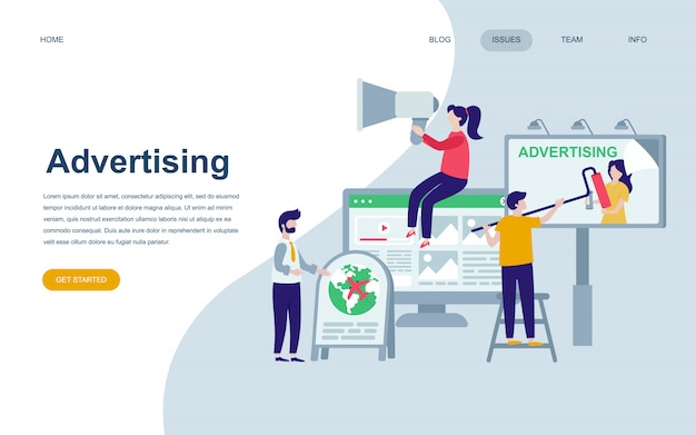 Modern flat web page design template of advertising