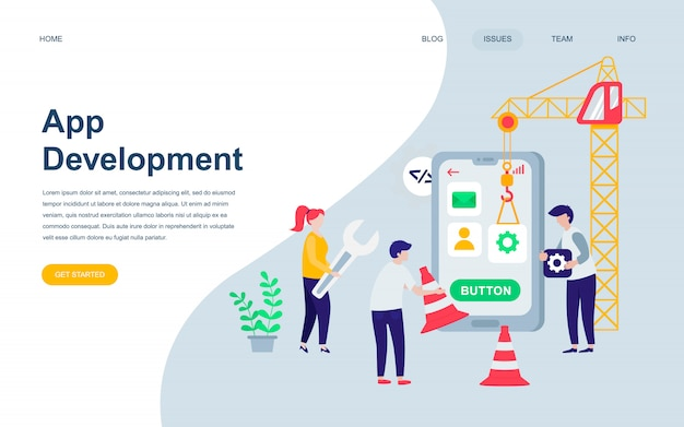 Modern flat web page design template of app development