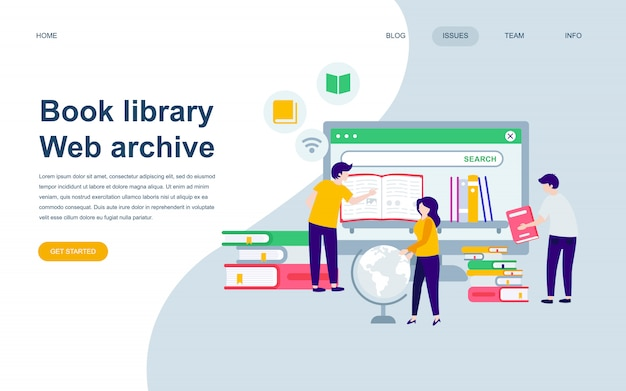 Modern flat web page design template of book library
