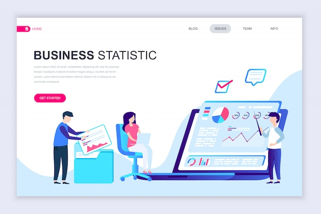 Modern flat web page design template of business statistic