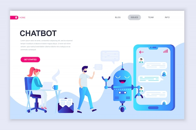 Modern flat web page design template of chat bot