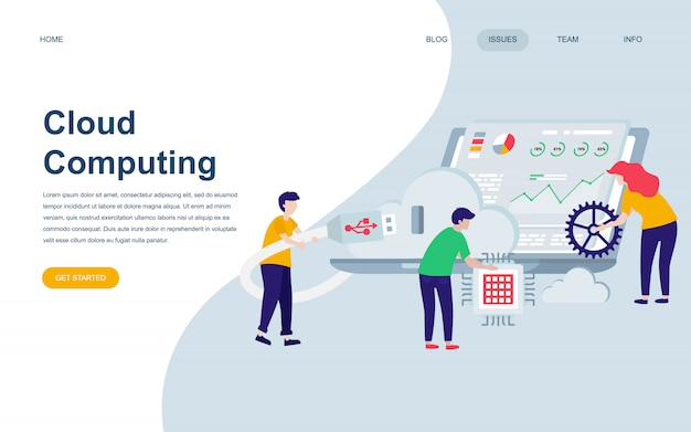 Modern flat web page design template of cloud technology