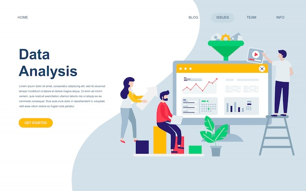 Modern flat web page design template of data analysis