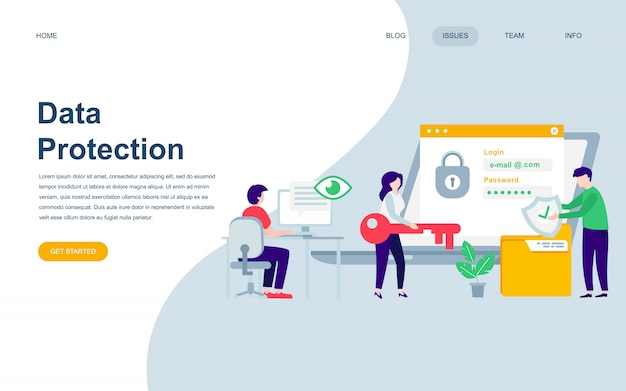 Modern flat web page design template of data protection