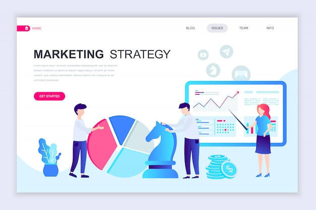 Modern flat web page design template of marketing strategy