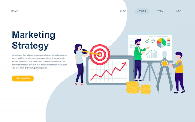Modern flat web page design template of marketing strategy