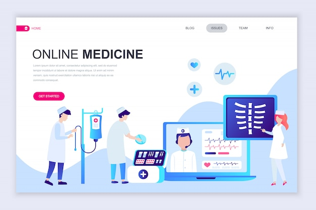 Modern flat web page design template of medicine