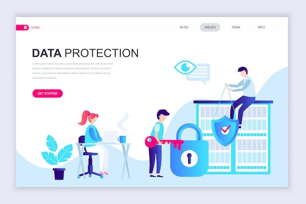 데이터 보호의 현대 평면 웹 페이지 디자인 서식 파일