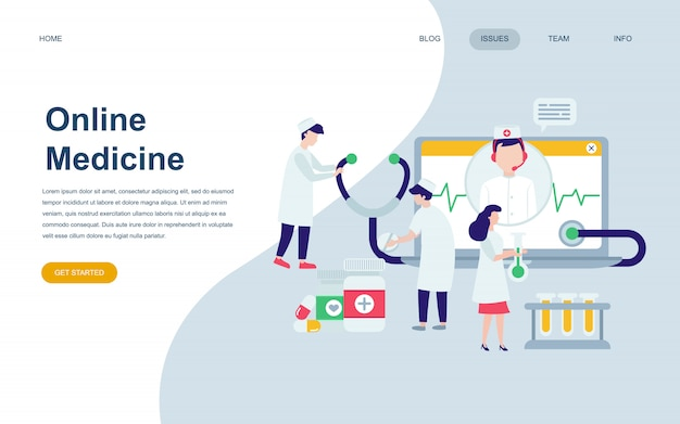 医学の現代平らなウェブページデザインテンプレート