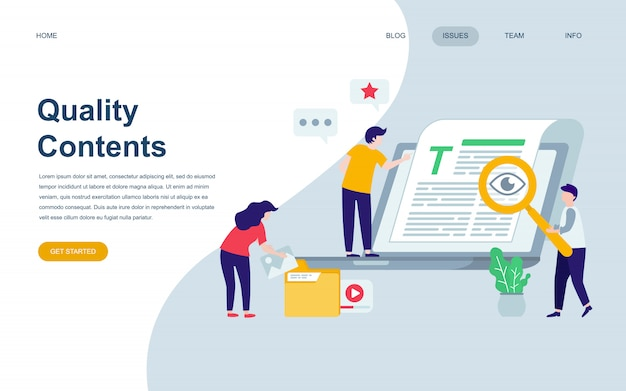品質コンテンツのモダンなフラットのwebページデザインテンプレート