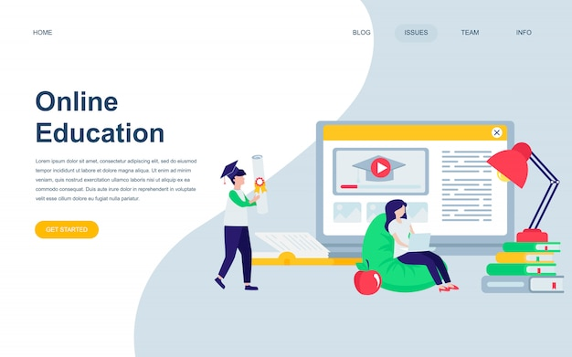 Modern flat web page design template of online education