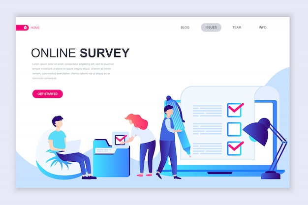 Modern flat web page design template of online survey