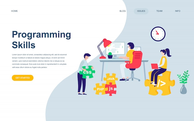 Modern flat web page design template of programming skills