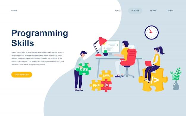 Modern flat web page design template of programming skills