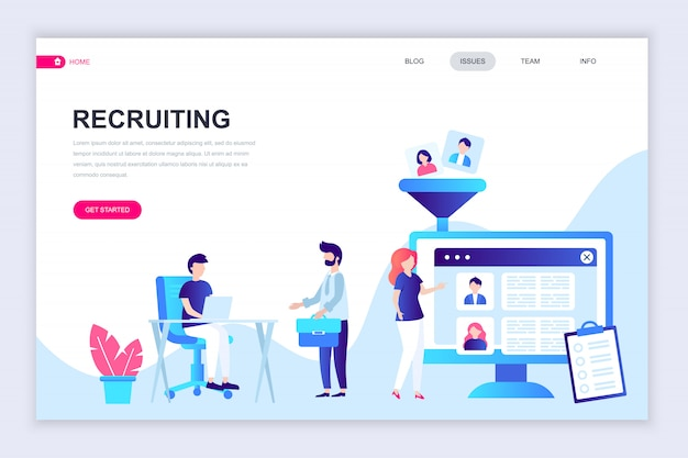 Modern flat web page design template of recruiting