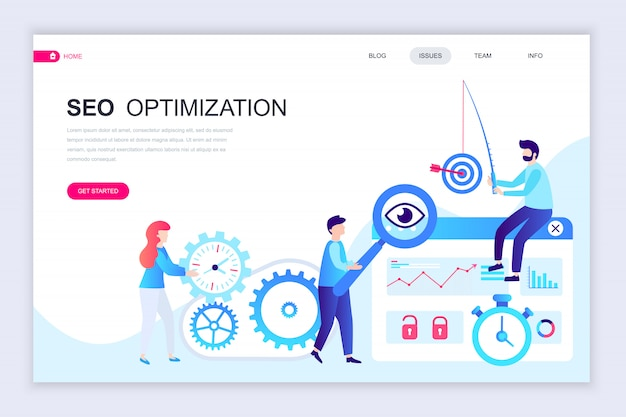 Modern flat web page design template of seo analysis