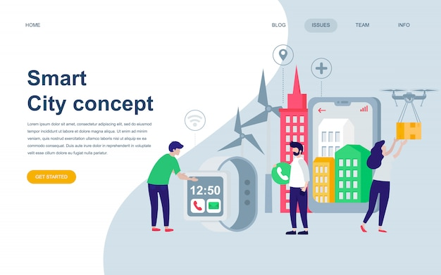 Modern flat web page design template of smart city